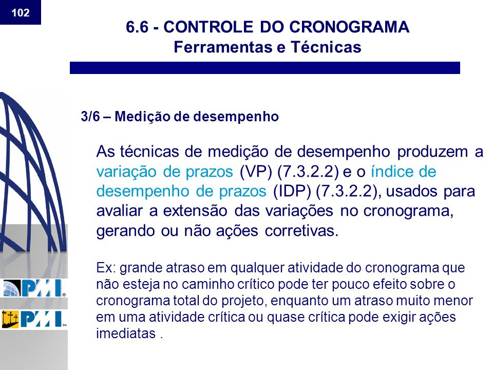 6.6 - CONTROLE DO CRONOGRAMA Ferramentas e Técnicas