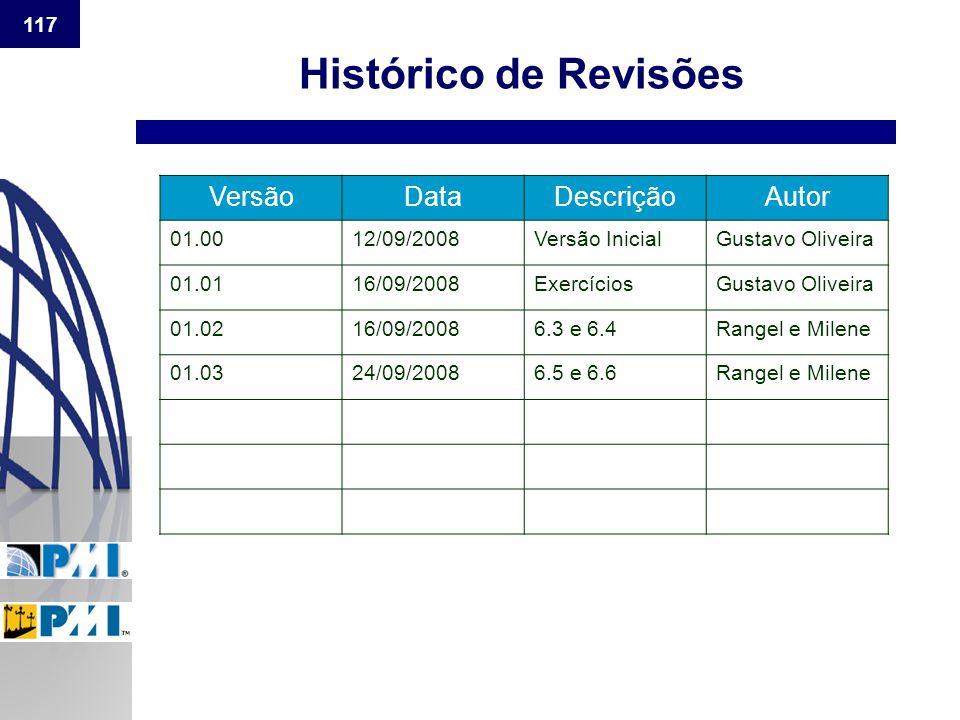 Histórico de Revisões Versão Data Descrição Autor 01.00 12/09/2008