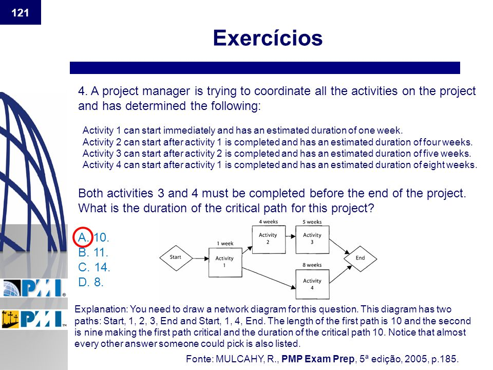 Exercícios 4. A project manager is trying to coordinate all the activities on the project and has determined the following: