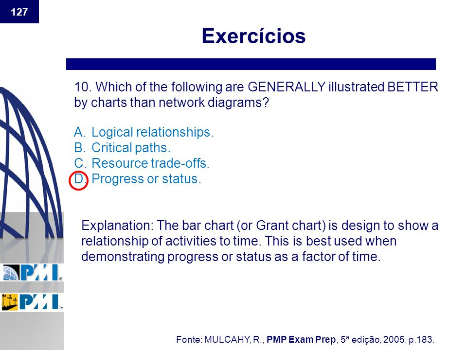 Exercícios 10. Which of the following are GENERALLY illustrated BETTER by charts than network diagrams