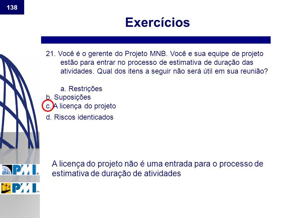 138 Exercícios.