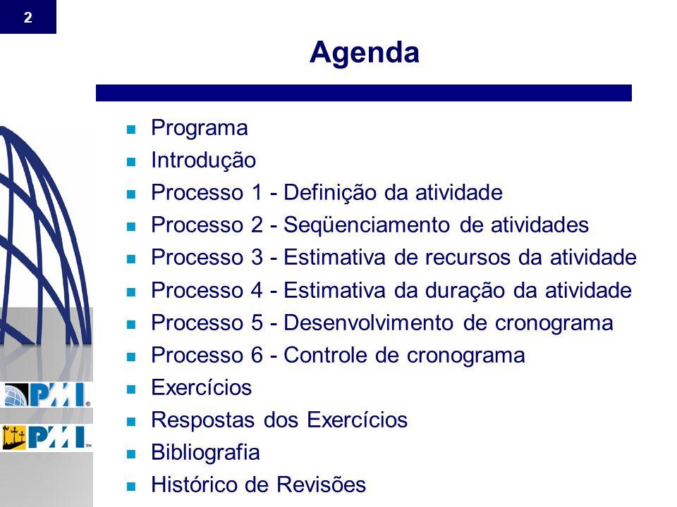 Agenda Programa Introdução Processo 1 - Definição da atividade