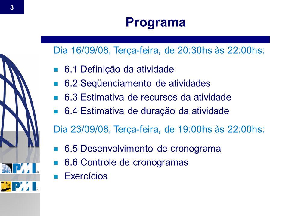 Programa Dia 16/09/08, Terça-feira, de 20:30hs às 22:00hs: