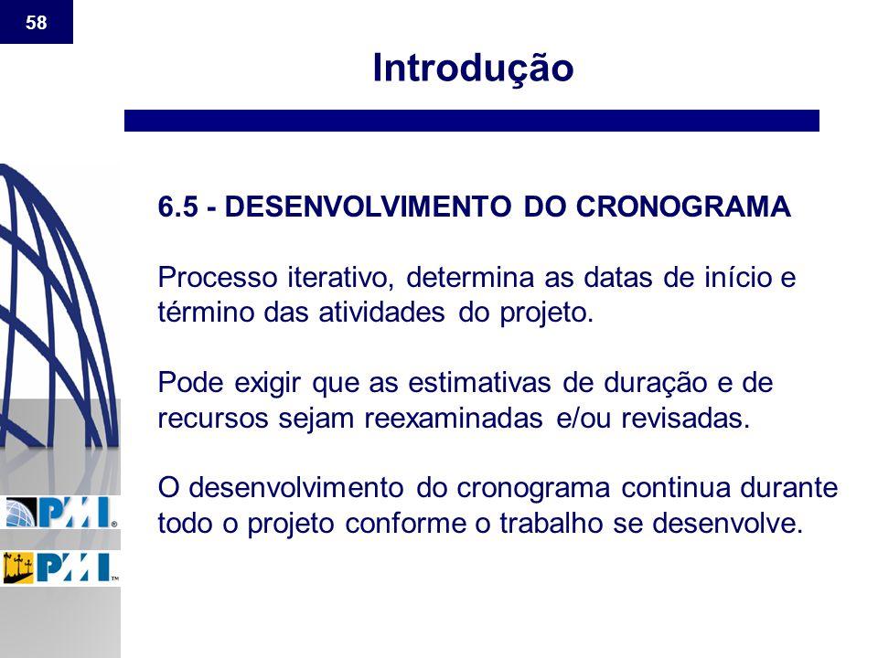 Introdução 6.5 - DESENVOLVIMENTO DO CRONOGRAMA