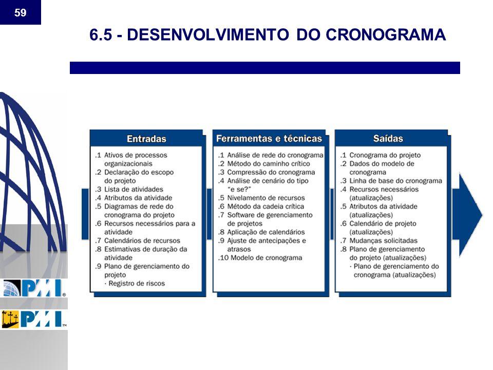 6.5 - DESENVOLVIMENTO DO CRONOGRAMA
