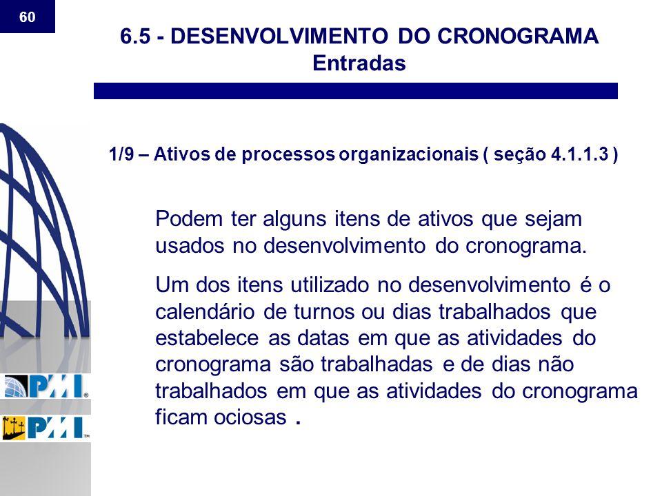 6.5 - DESENVOLVIMENTO DO CRONOGRAMA Entradas