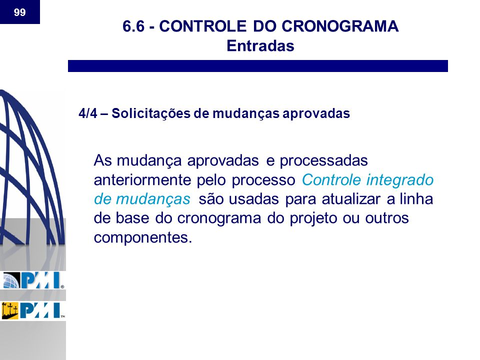 6.6 - CONTROLE DO CRONOGRAMA Entradas