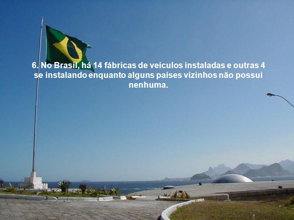 6. No Brasil, há 14 fábricas de veículos instaladas e outras 4