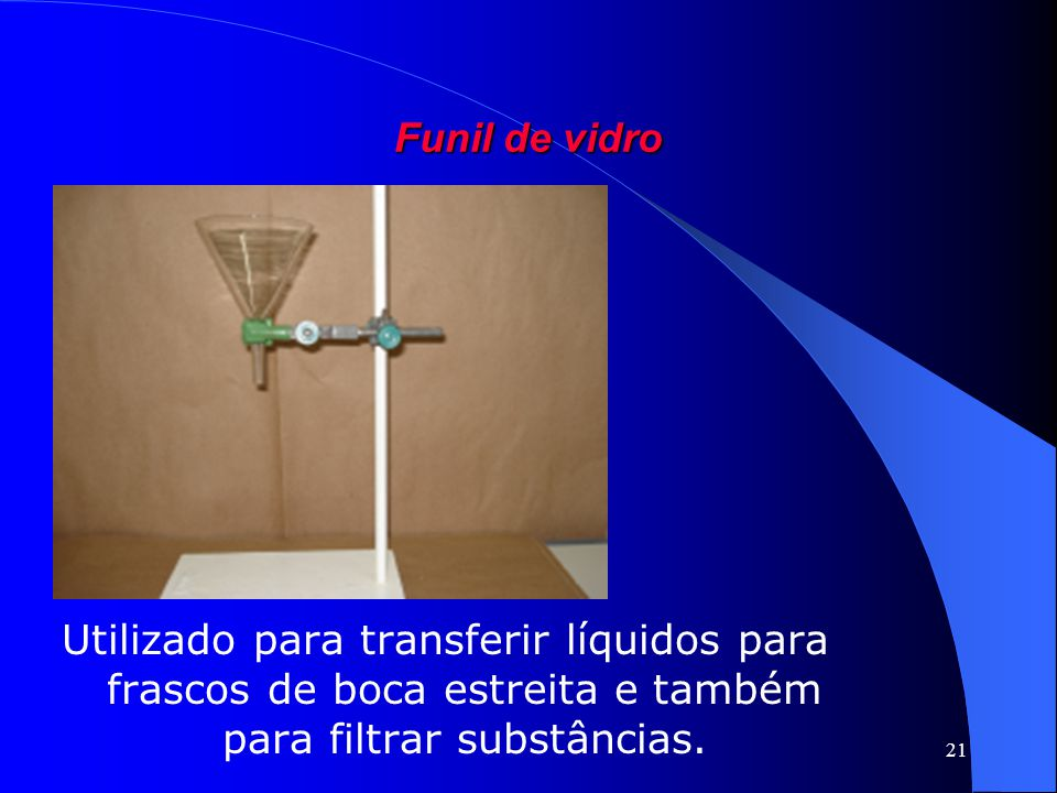 Funil de vidro Utilizado para transferir líquidos para frascos de boca estreita e também para filtrar substâncias.