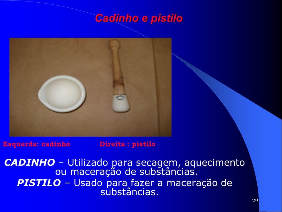 PISTILO – Usado para fazer a maceração de substâncias.
