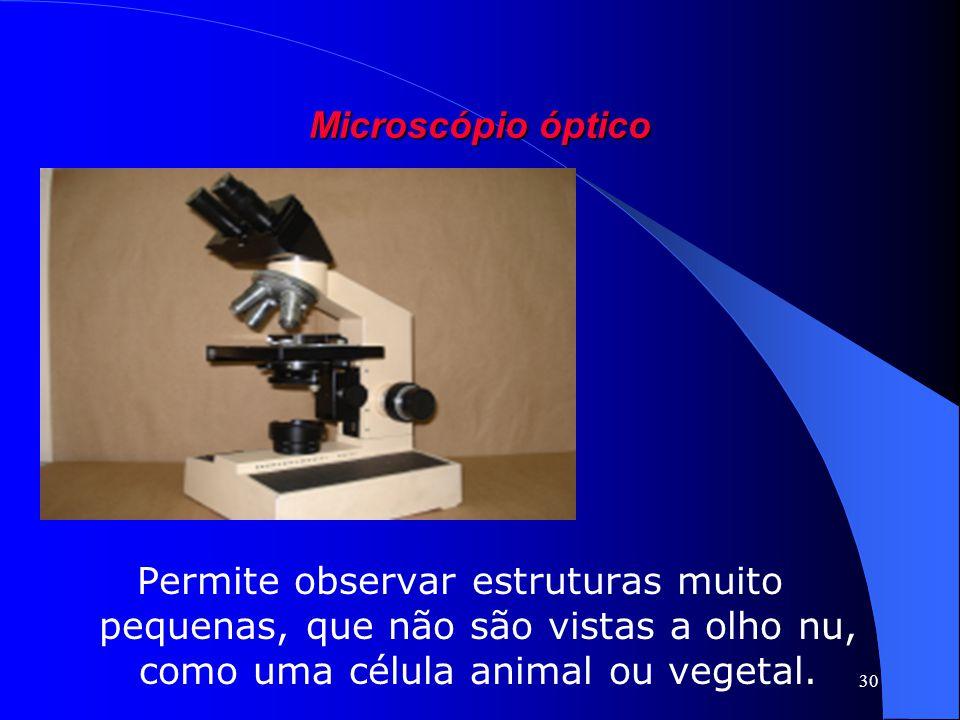 Microscópio óptico Permite observar estruturas muito pequenas, que não são vistas a olho nu, como uma célula animal ou vegetal.