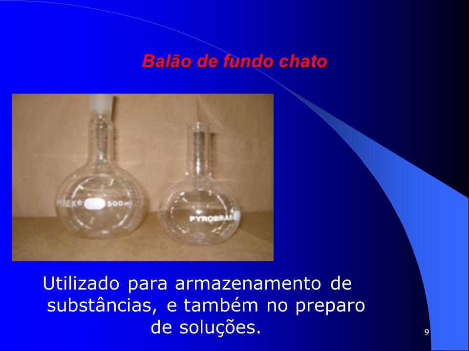 Balão de fundo chato Utilizado para armazenamento de substâncias, e também no preparo de soluções.