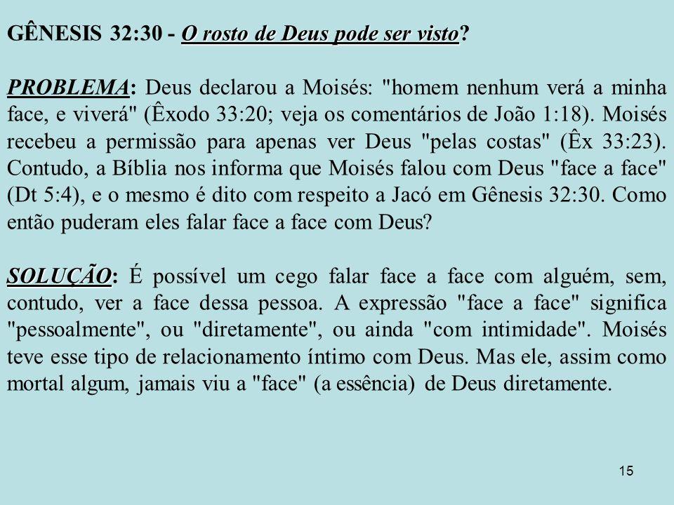 GÊNESIS 32:30 - O rosto de Deus pode ser visto