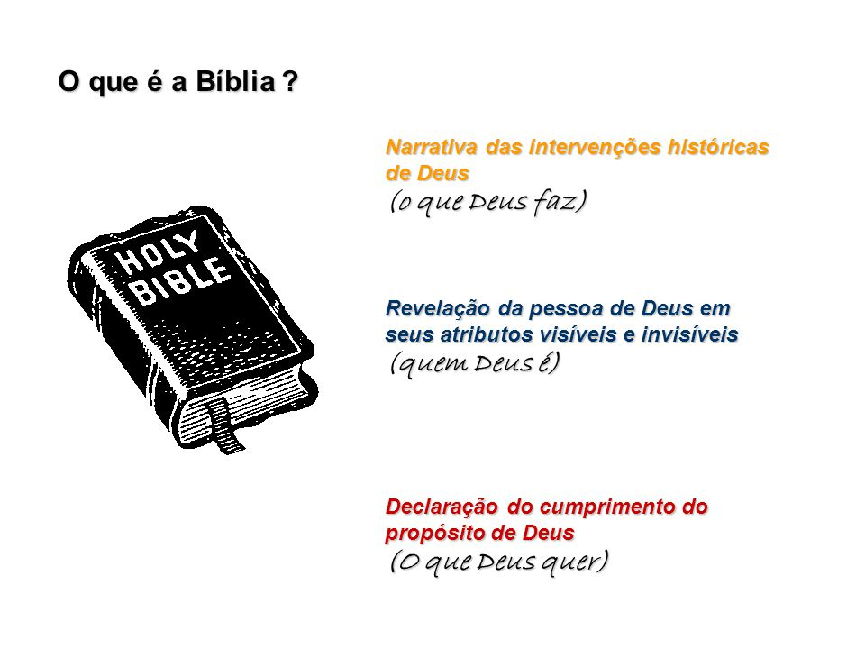 O que é a Bíblia (o que Deus faz) (quem Deus é) (O que Deus quer)