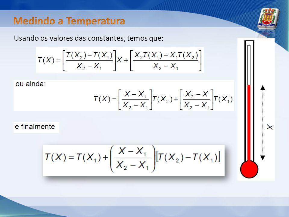 Medindo a Temperatura Usando os valores das constantes, temos que: