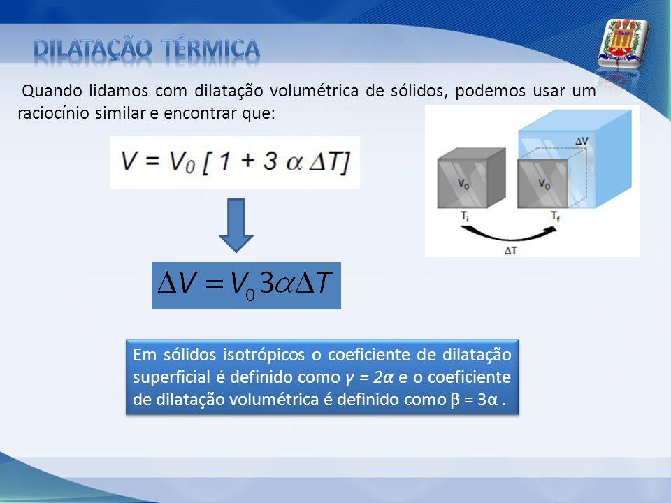 Dilatação térmica Quando lidamos com dilatação volumétrica de sólidos, podemos usar um raciocínio similar e encontrar que:
