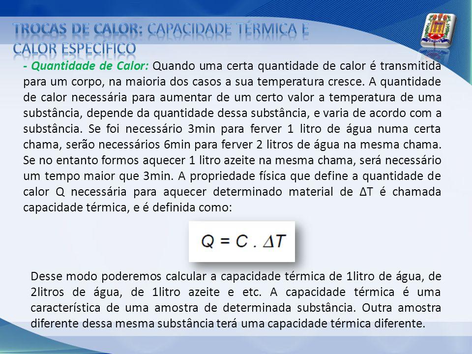 Trocas de calor: Capacidade térmica e calor específico