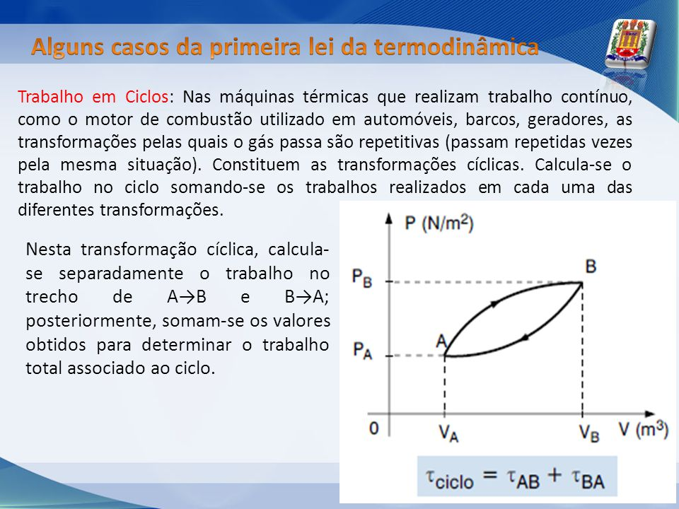 Alguns casos da primeira lei da termodinâmica