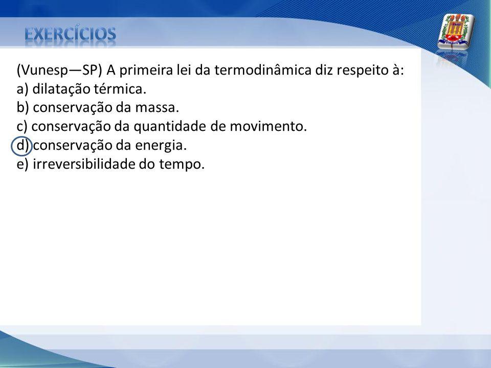 exercícios (Vunesp—SP) A primeira lei da termodinâmica diz respeito à: