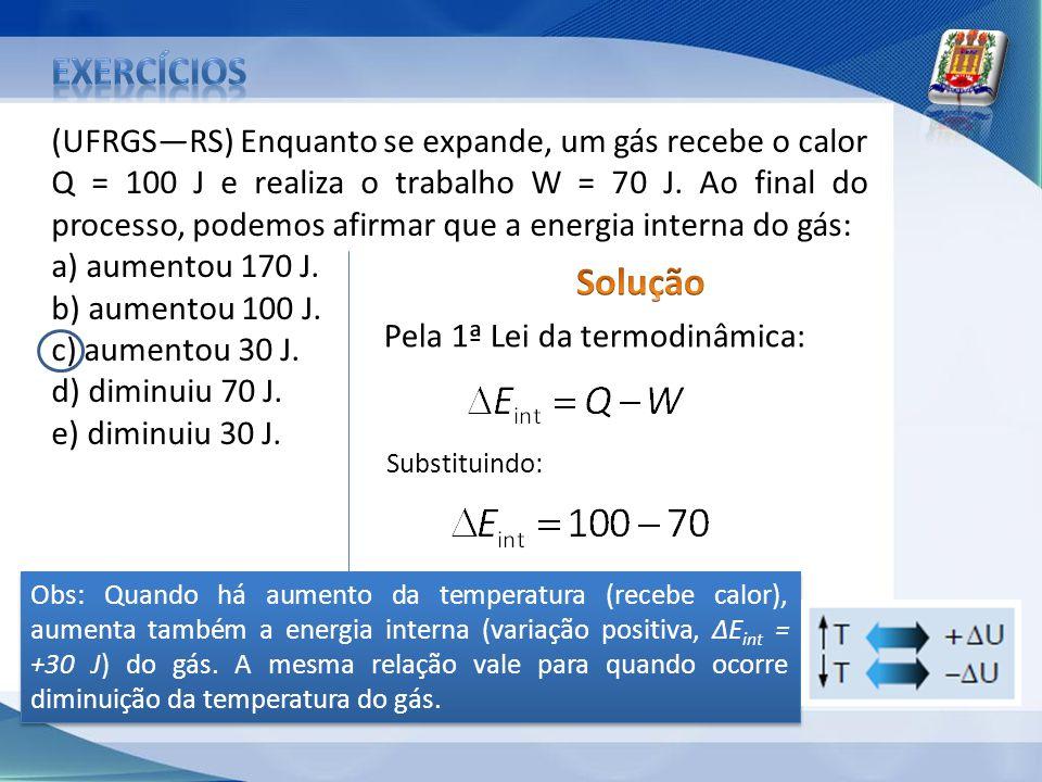 exercícios (UFRGS—RS) Enquanto se expande, um gás recebe o calor.