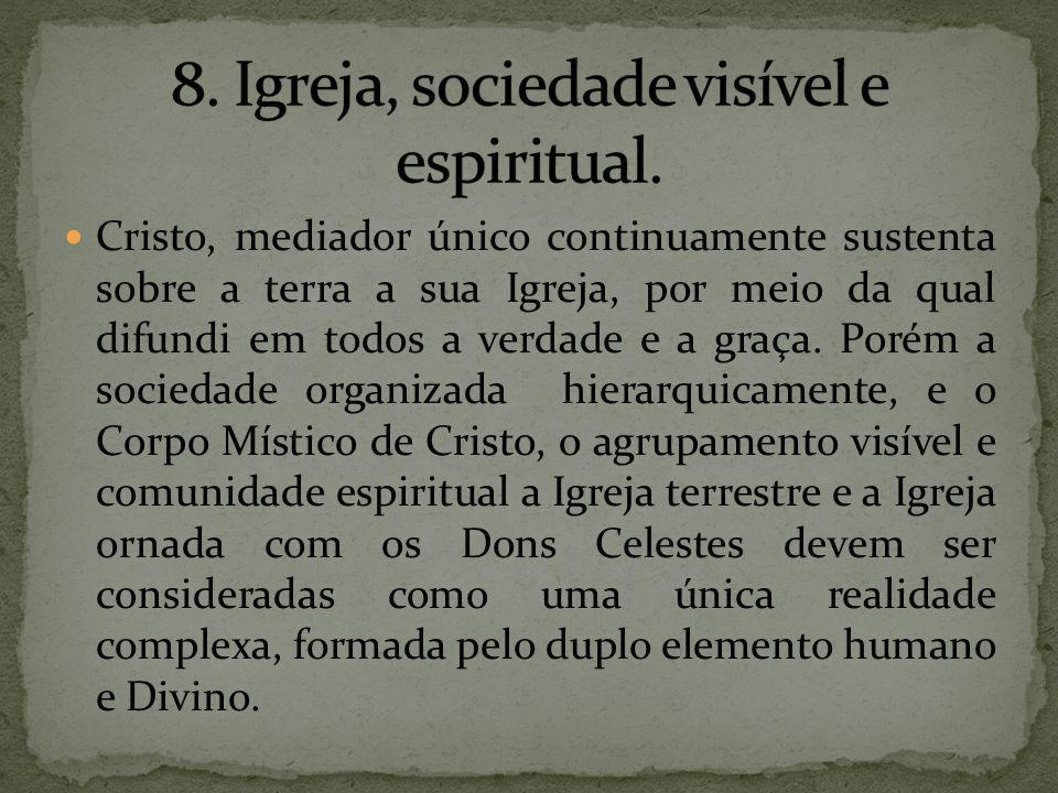 8. Igreja, sociedade visível e espiritual.