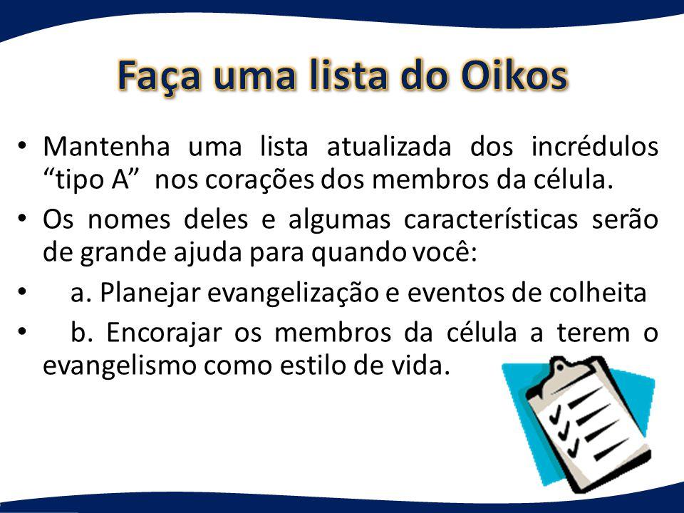 Faça uma lista do Oikos Mantenha uma lista atualizada dos incrédulos tipo A nos corações dos membros da célula.