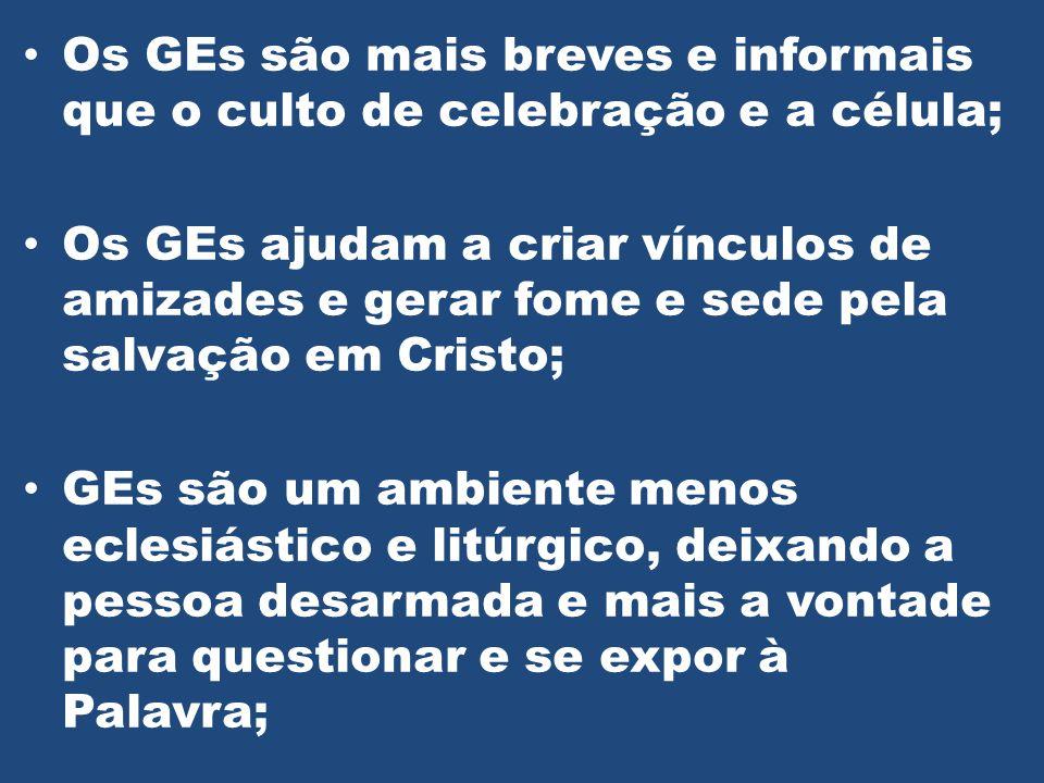 Os GEs são mais breves e informais que o culto de celebração e a célula;