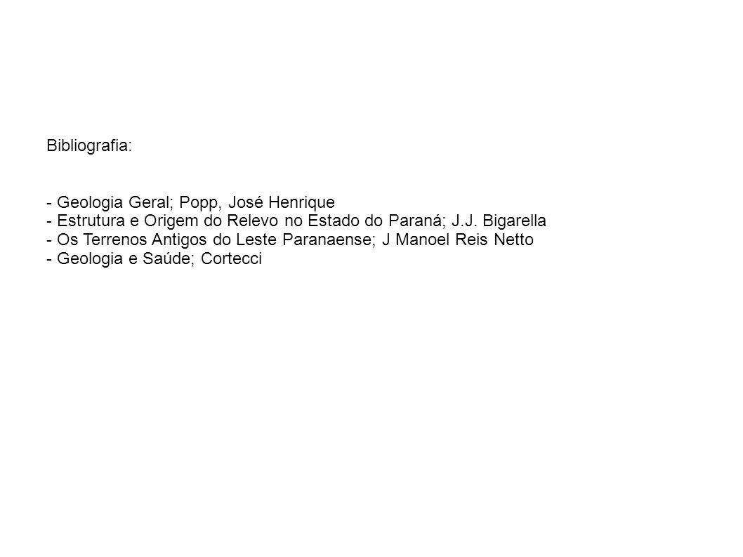 Bibliografia: - Geologia Geral; Popp, José Henrique. - Estrutura e Origem do Relevo no Estado do Paraná; J.J. Bigarella.