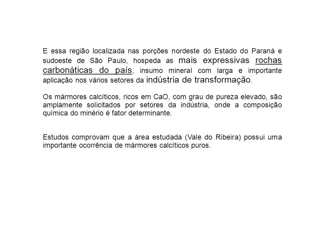 E essa região localizada nas porções nordeste do Estado do Paraná e sudoeste de São Paulo, hospeda as mais expressivas rochas carbonáticas do país, insumo mineral com larga e importante aplicação nos vários setores da indústria de transformação.