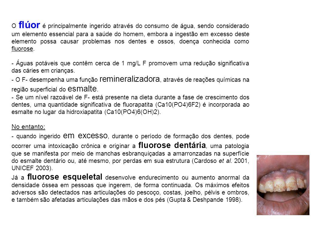 O flúor é principalmente ingerido através do consumo de água, sendo considerado um elemento essencial para a saúde do homem, embora a ingestão em excesso deste elemento possa causar problemas nos dentes e ossos, doença conhecida como fluorose.