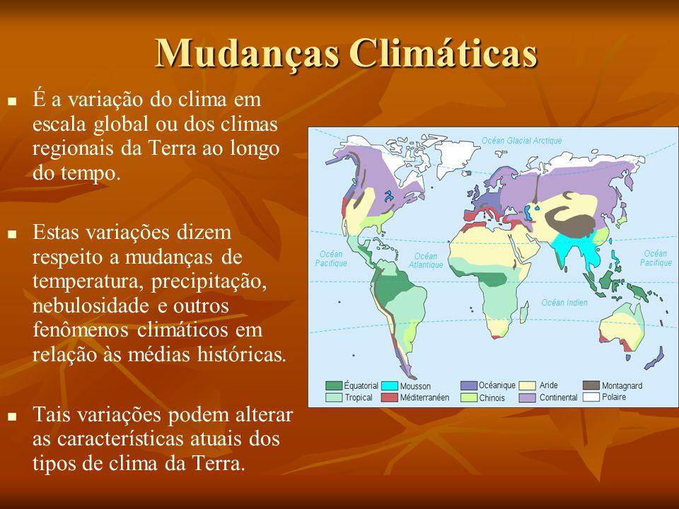 Mudanças Climáticas É a variação do clima em escala global ou dos climas regionais da Terra ao longo do tempo.