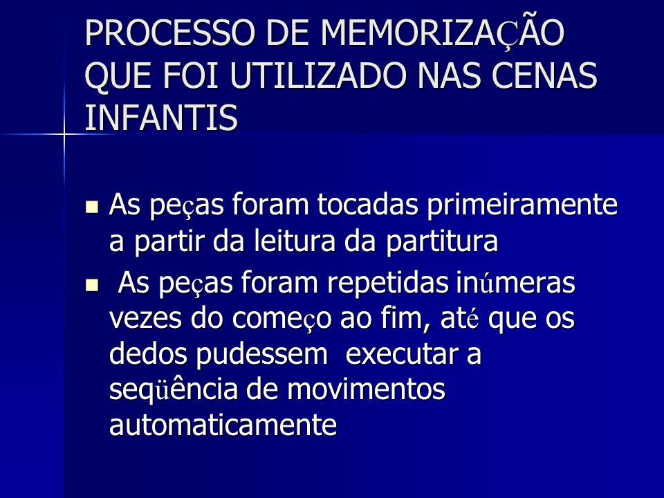 PROCESSO DE MEMORIZAÇÃO QUE FOI UTILIZADO NAS CENAS INFANTIS
