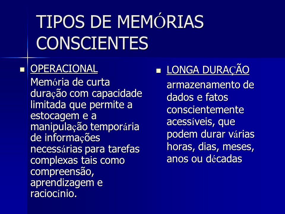 TIPOS DE MEMÓRIAS CONSCIENTES