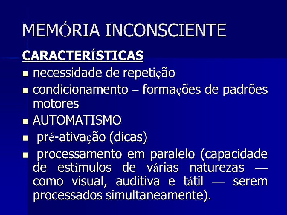 MEMÓRIA INCONSCIENTE CARACTERÍSTICAS necessidade de repetição