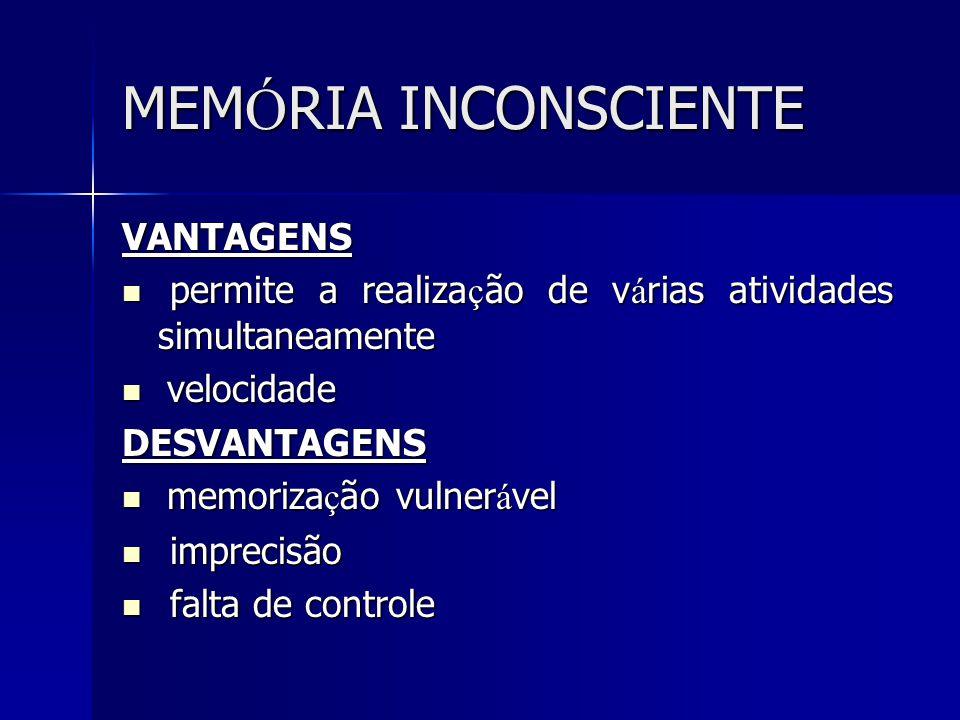 MEMÓRIA INCONSCIENTE VANTAGENS