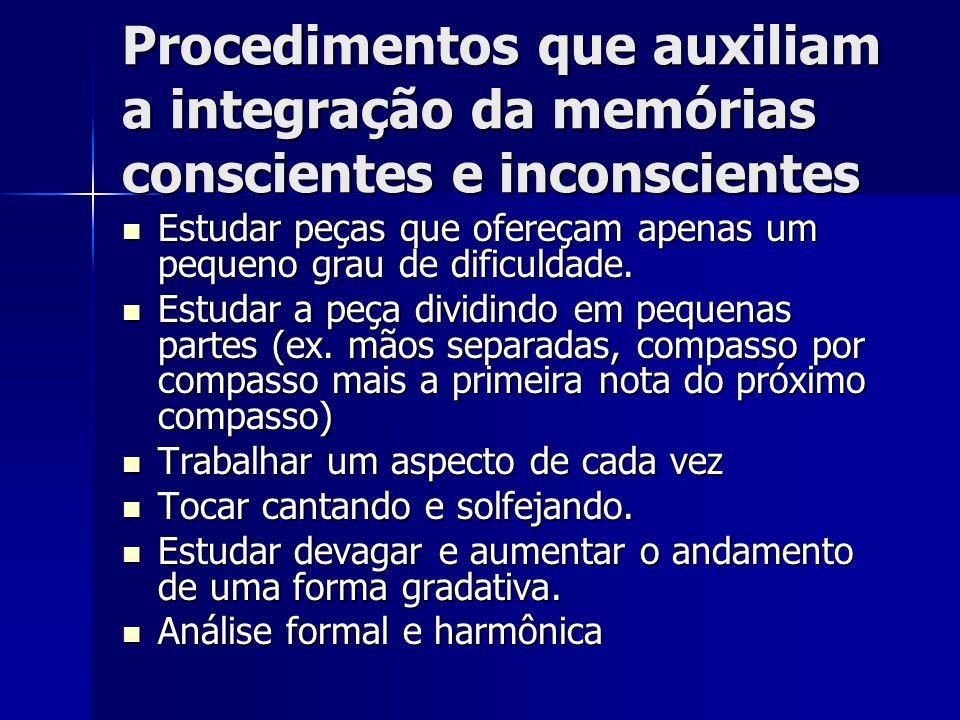 Procedimentos que auxiliam a integração da memórias conscientes e inconscientes