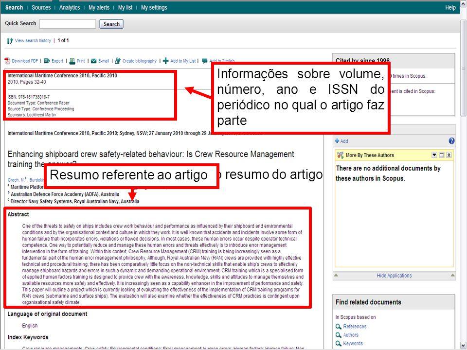 Informações sobre volume, número, ano e ISSN do periódico no qual o artigo faz parte