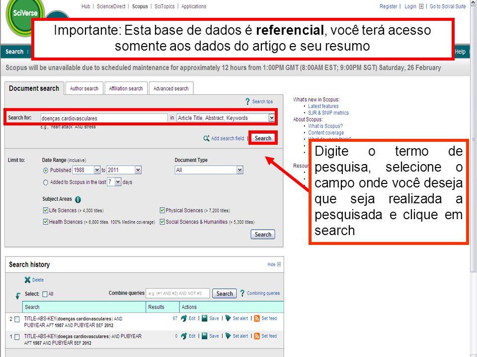 Importante: Esta base de dados é referencial, você terá acesso somente aos dados do artigo e seu resumo