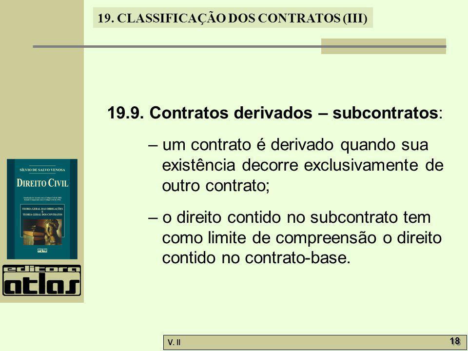 19.9. Contratos derivados – subcontratos: