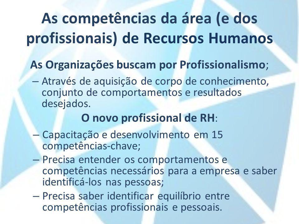 As competências da área (e dos profissionais) de Recursos Humanos