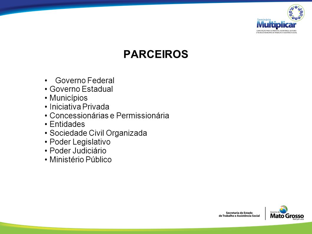 PARCEIROS Governo Federal • Governo Estadual • Municípios