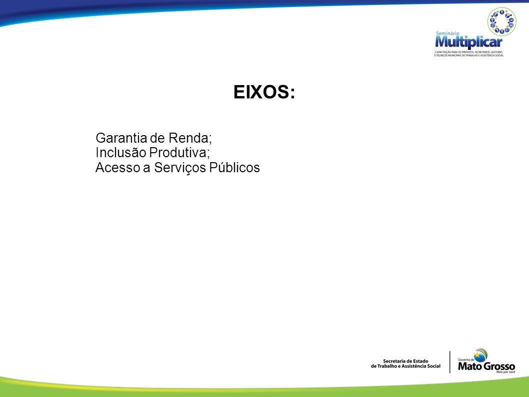 EIXOS: Garantia de Renda; Inclusão Produtiva;