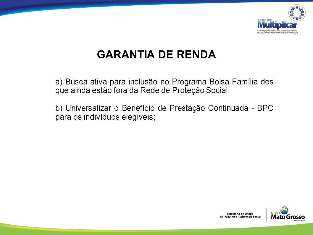 GARANTIA DE RENDA a) Busca ativa para inclusão no Programa Bolsa Família dos que ainda estão fora da Rede de Proteção Social;