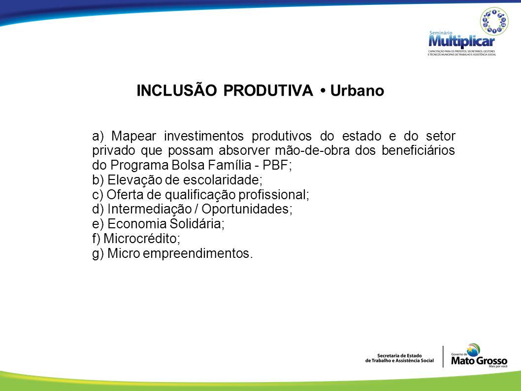 INCLUSÃO PRODUTIVA • Urbano