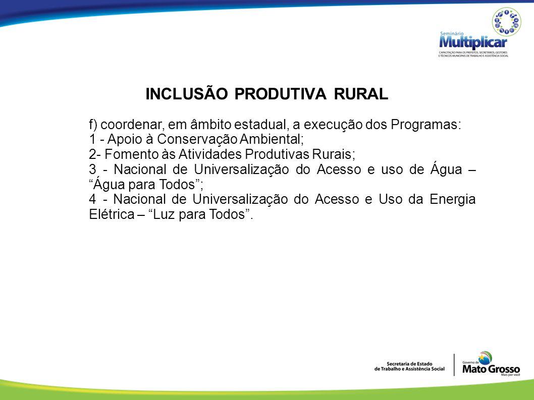 INCLUSÃO PRODUTIVA RURAL