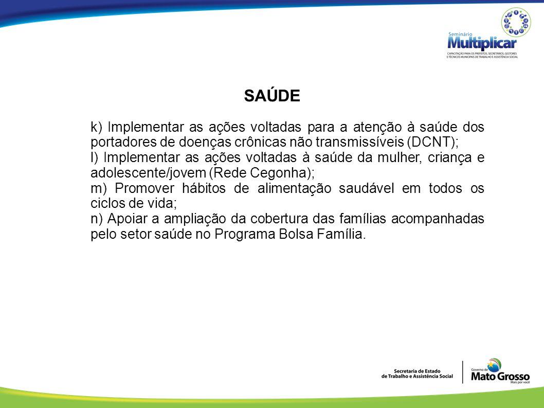 SAÚDE k) Implementar as ações voltadas para a atenção à saúde dos portadores de doenças crônicas não transmissíveis (DCNT);