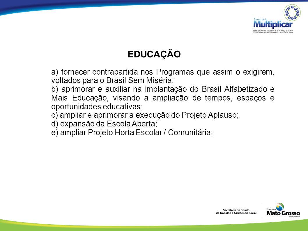 EDUCAÇÃO a) fornecer contrapartida nos Programas que assim o exigirem, voltados para o Brasil Sem Miséria;