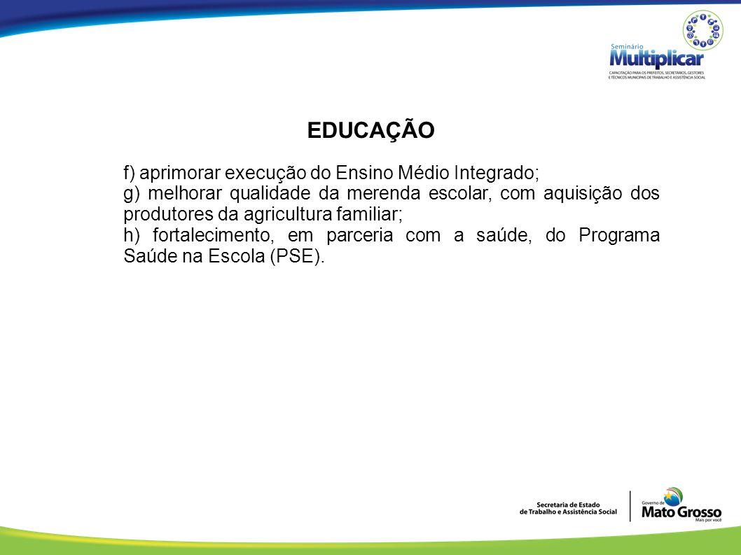 EDUCAÇÃO f) aprimorar execução do Ensino Médio Integrado;
