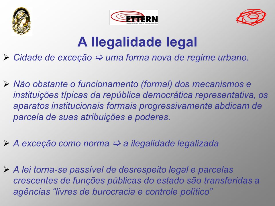 A Ilegalidade legal Cidade de exceção  uma forma nova de regime urbano.