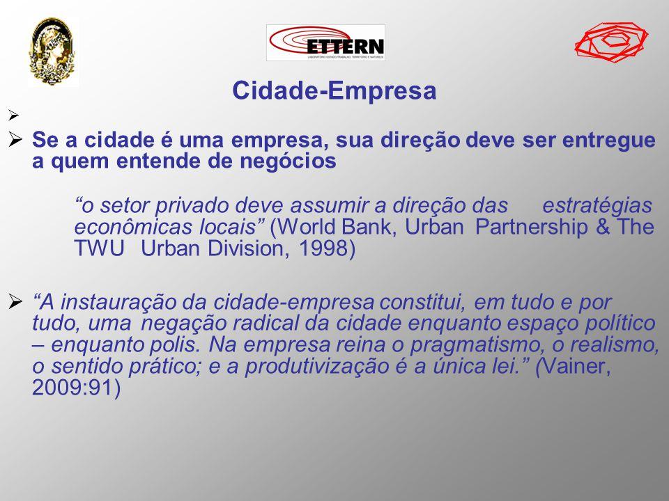 Cidade-Empresa Se a cidade é uma empresa, sua direção deve ser entregue a quem entende de negócios.